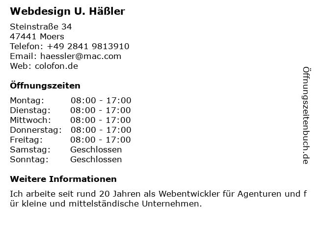 Webdesign U. Häßler in Moers: Adresse und Öffnungszeiten