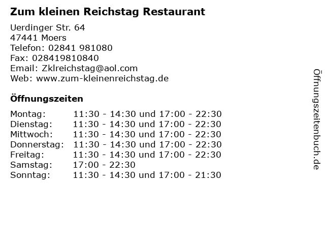 Zum kleinen Reichstag Restaurant in Moers: Adresse und Öffnungszeiten
