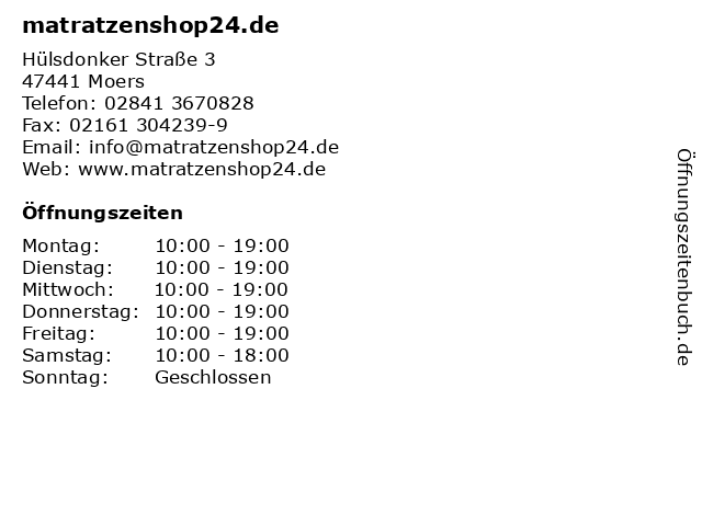 ᐅ Offnungszeiten Matratzenshop24 De Hulsdonker Strasse 3 In Moers
