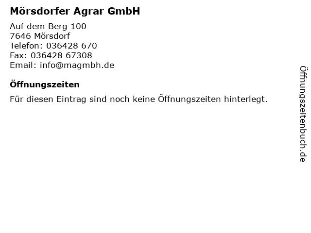 Mörsdorfer Agrar GmbH in Mörsdorf: Adresse und Öffnungszeiten