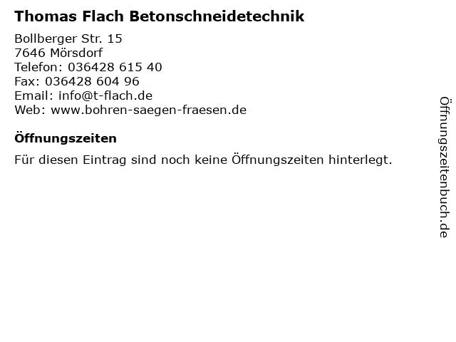 Thomas Flach Betonschneidetechnik in Mörsdorf: Adresse und Öffnungszeiten