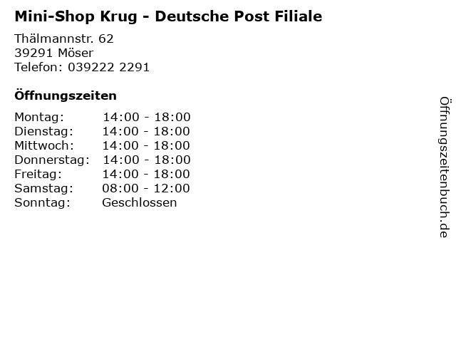 Mini-Shop Krug - Deutsche Post Filiale in Möser: Adresse und Öffnungszeiten