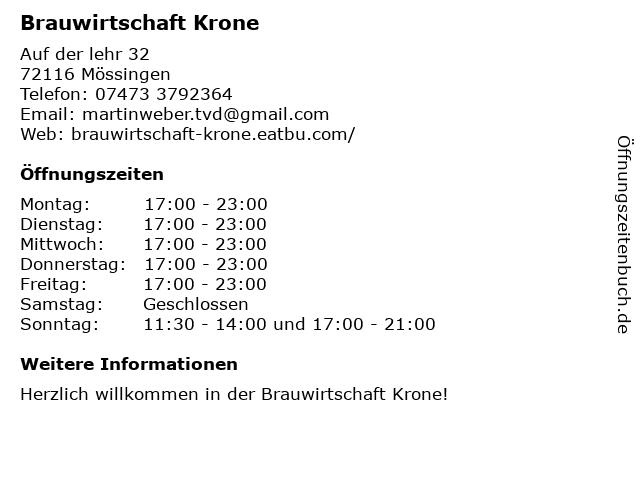 Brauwirtschaft Krone in Mössingen: Adresse und Öffnungszeiten
