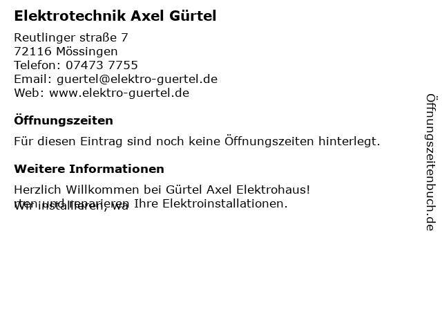 Axel Gürtel Elektrohaus in Mössingen: Adresse und Öffnungszeiten
