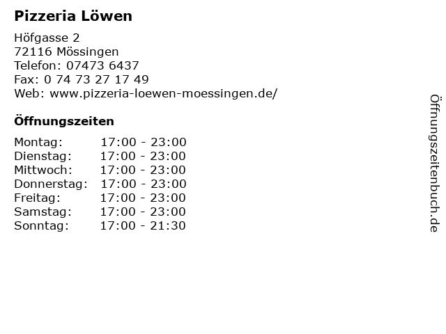 Pizzeria Löwen in Mössingen: Adresse und Öffnungszeiten