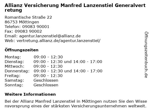 Allianz Vertretung Manfred Lanzenstiel in Möttingen: Adresse und Öffnungszeiten