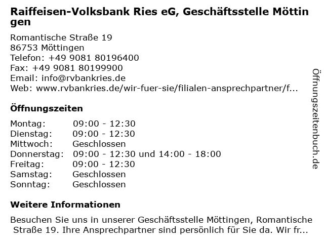 Raiffeisen-Volksbank Ries eG, Geschäftsstelle Möttingen in Möttingen: Adresse und Öffnungszeiten
