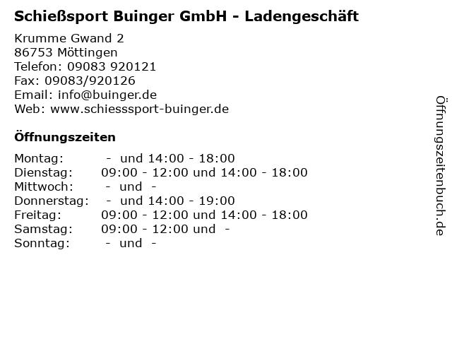 Schießsport Buinger GmbH - Ladengeschäft in Möttingen: Adresse und Öffnungszeiten