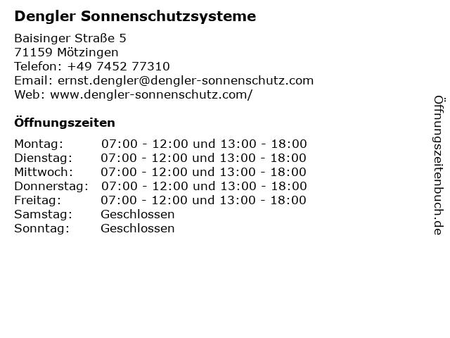 Dengler Sonnenschutzsysteme in Mötzingen: Adresse und Öffnungszeiten