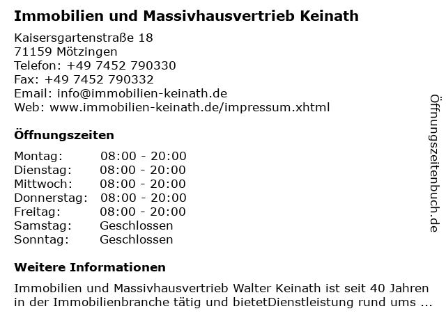 Immobilien und Massivhausvertrieb Keinath in Mötzingen: Adresse und Öffnungszeiten