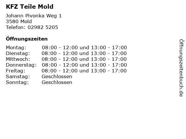 KFZ Teile Mold in Mold: Adresse und Öffnungszeiten
