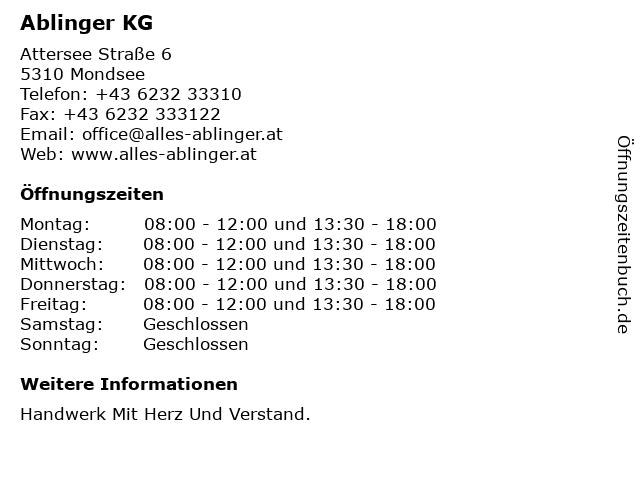 Ablinger KG in Mondsee: Adresse und Öffnungszeiten