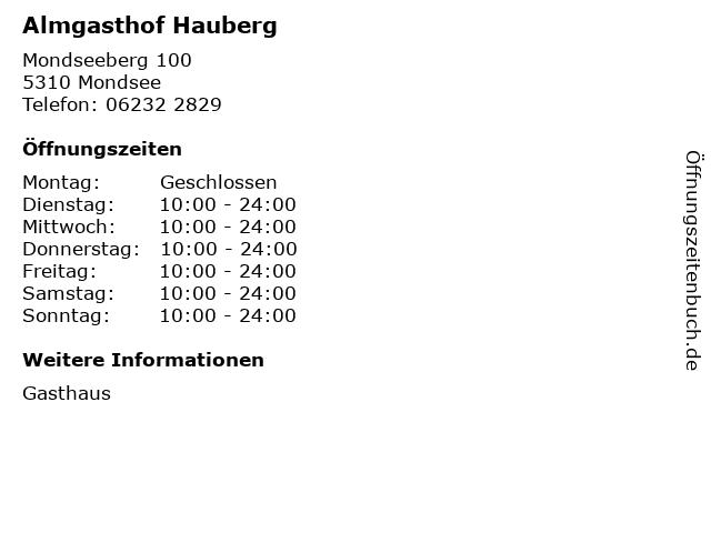 Almgasthof Hauberg in Mondsee: Adresse und Öffnungszeiten