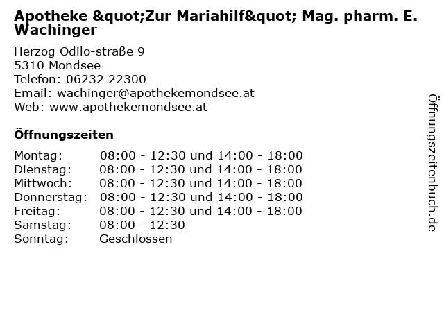"""Apotheke """"Zur Mariahilf"""" Mag. pharm. E. Wachinger in Mondsee: Adresse und Öffnungszeiten"""