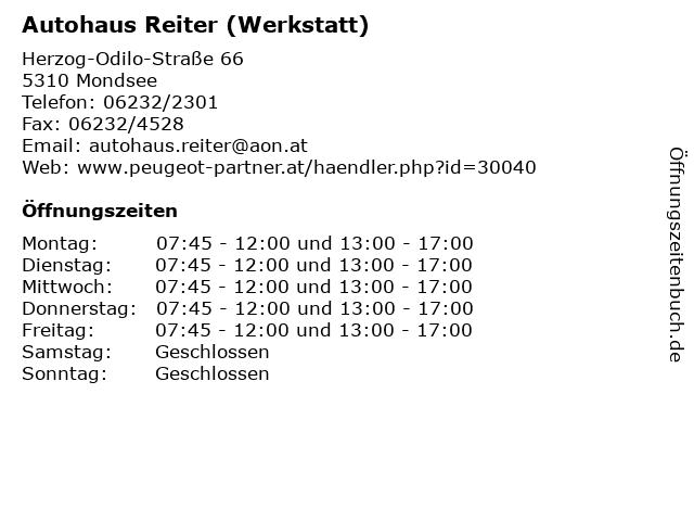 Autohaus Reiter (Werkstatt) in Mondsee: Adresse und Öffnungszeiten