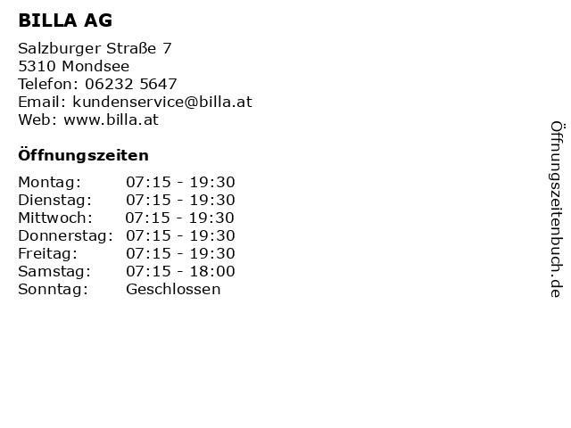 BILLA AG in Mondsee: Adresse und Öffnungszeiten