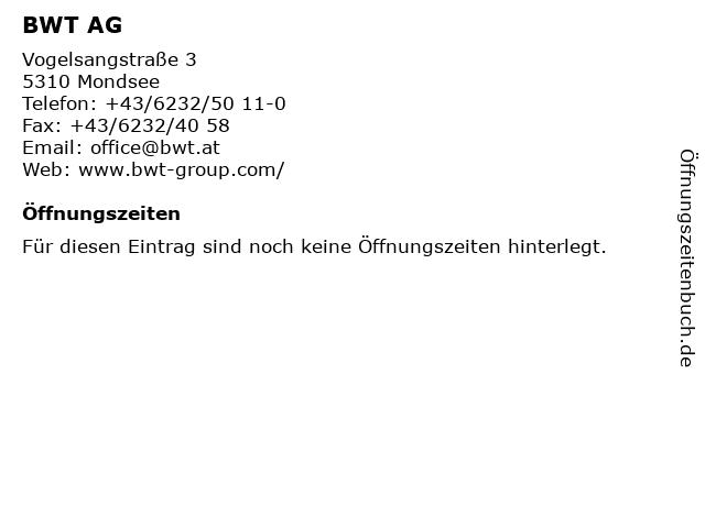 BWT AG in Mondsee: Adresse und Öffnungszeiten
