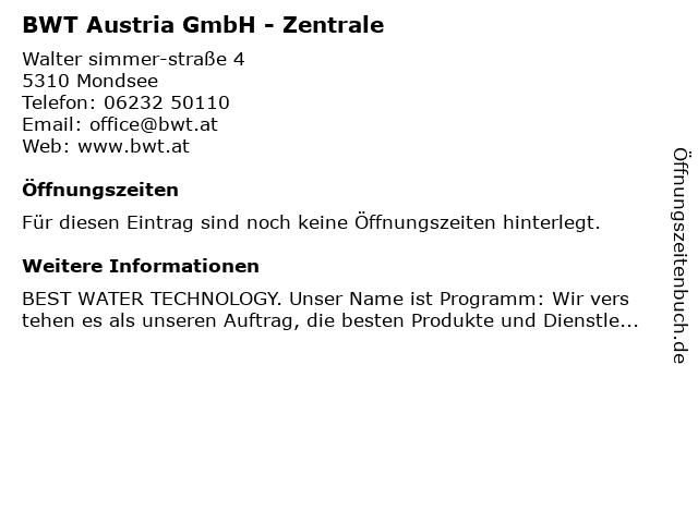 BWT Austria GmbH - Zentrale in Mondsee: Adresse und Öffnungszeiten