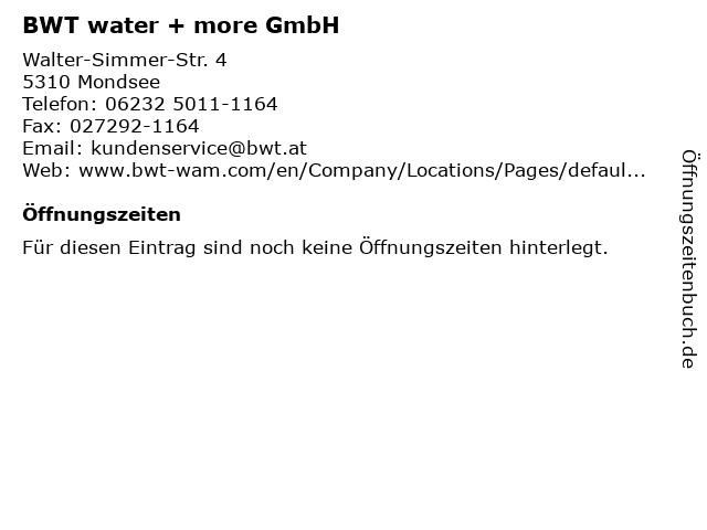 BWT water + more GmbH in Mondsee: Adresse und Öffnungszeiten