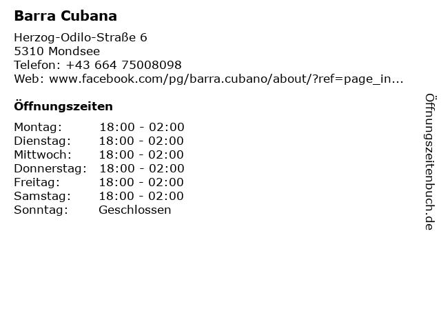 Barra Cubana in Mondsee: Adresse und Öffnungszeiten