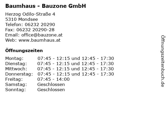 Baumhaus - Bauzone GmbH in Mondsee: Adresse und Öffnungszeiten