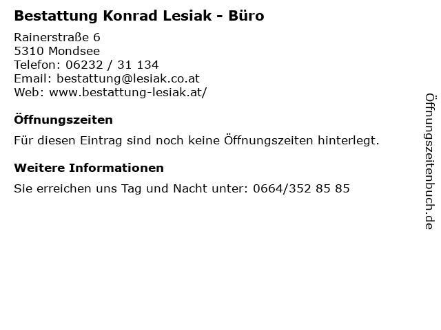 Bestattung Konrad Lesiak - Büro in Mondsee: Adresse und Öffnungszeiten