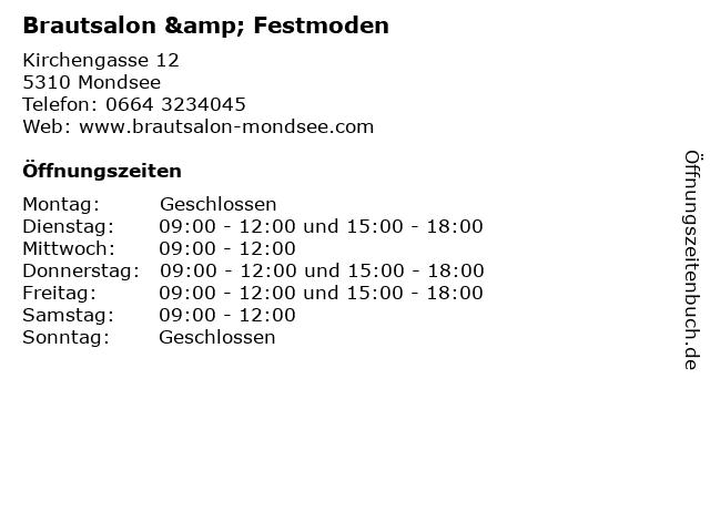 Brautsalon & Festmoden in Mondsee: Adresse und Öffnungszeiten