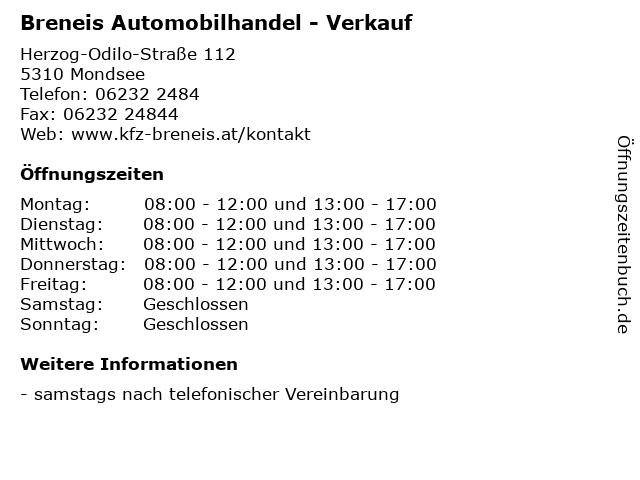 Breneis Automobilhandel - Verkauf in Mondsee: Adresse und Öffnungszeiten