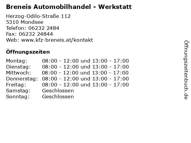 Breneis Automobilhandel - Werkstatt in Mondsee: Adresse und Öffnungszeiten
