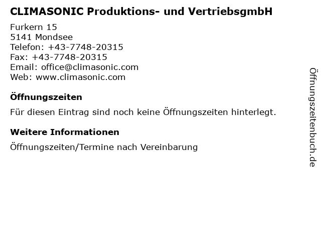 CLIMASONIC Produktions- und VertriebsgmbH in Mondsee: Adresse und Öffnungszeiten