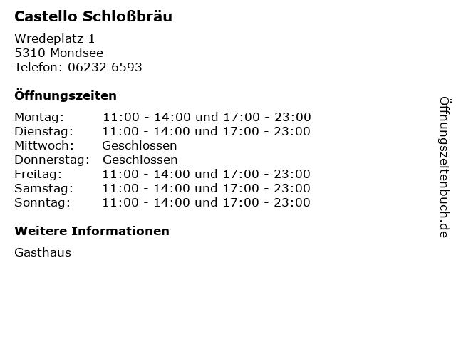 Castello Schloßbräu in Mondsee: Adresse und Öffnungszeiten