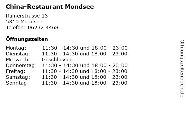 China-Restaurant Mondsee in Mondsee: Adresse und Öffnungszeiten