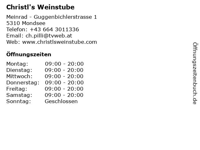 Christl's Weinstube in Mondsee: Adresse und Öffnungszeiten