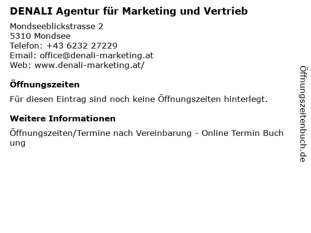 DENALI Agentur für Marketing und Vertrieb in Mondsee: Adresse und Öffnungszeiten