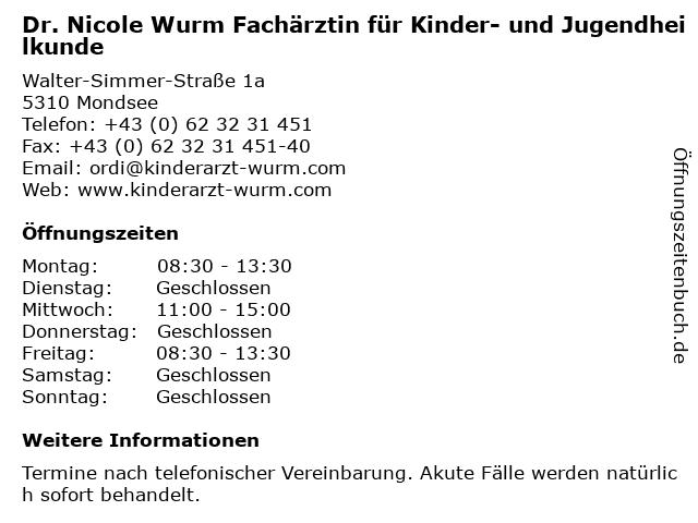 Dr. Nicole Wurm Fachärztin für Kinder- und Jugendheilkunde in Mondsee: Adresse und Öffnungszeiten