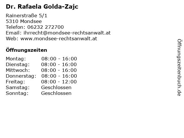Dr. Rafaela Golda-Zajc in Mondsee: Adresse und Öffnungszeiten