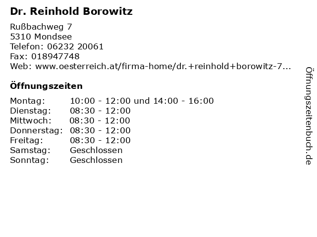 Dr. Reinhold Borowitz in Mondsee: Adresse und Öffnungszeiten