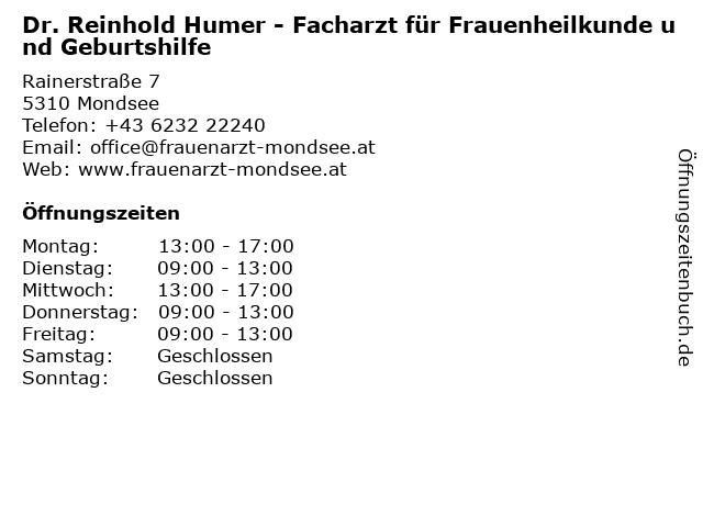 Dr. Reinhold Humer - Facharzt für Frauenheilkunde und Geburtshilfe in Mondsee: Adresse und Öffnungszeiten