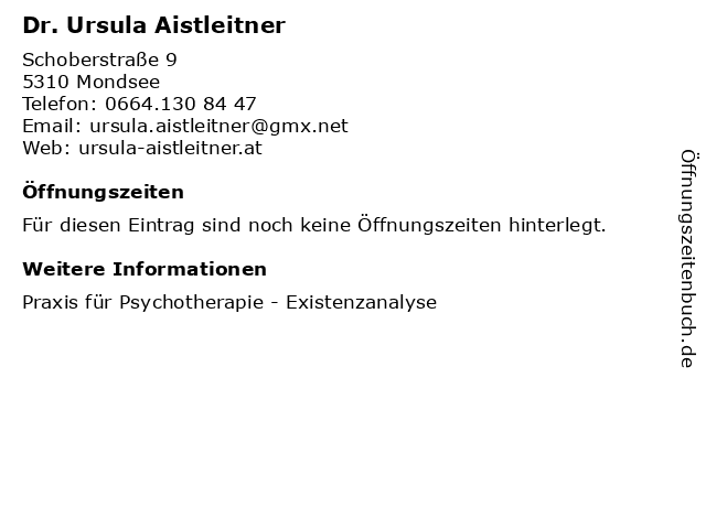Dr. Ursula Aistleitner in Mondsee: Adresse und Öffnungszeiten