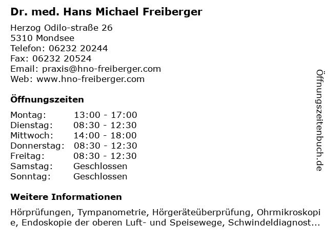 Dr. med. Hans Michael Freiberger in Mondsee: Adresse und Öffnungszeiten