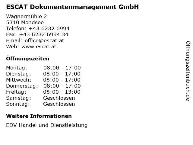 ESCAT EDV Handelsges.m.b.H. in Mondsee: Adresse und Öffnungszeiten