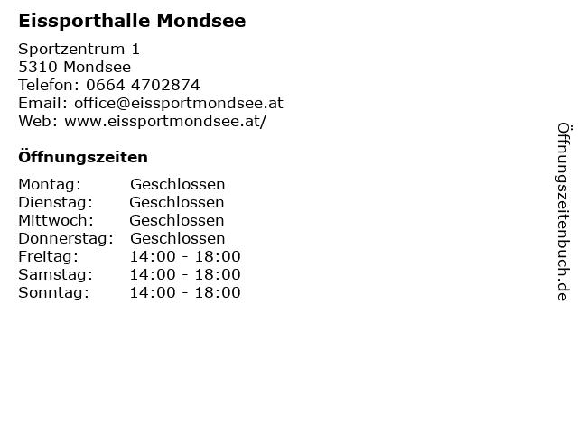Eissporthalle Mondsee in Mondsee: Adresse und Öffnungszeiten