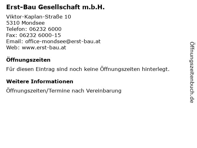 Erst-Bau Gesellschaft m.b.H. in Mondsee: Adresse und Öffnungszeiten