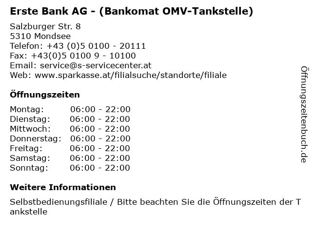 Erste Bank AG - (Bankomat OMV-Tankstelle) in Mondsee: Adresse und Öffnungszeiten