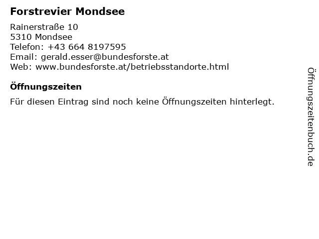 Forstrevier Mondsee in Mondsee: Adresse und Öffnungszeiten