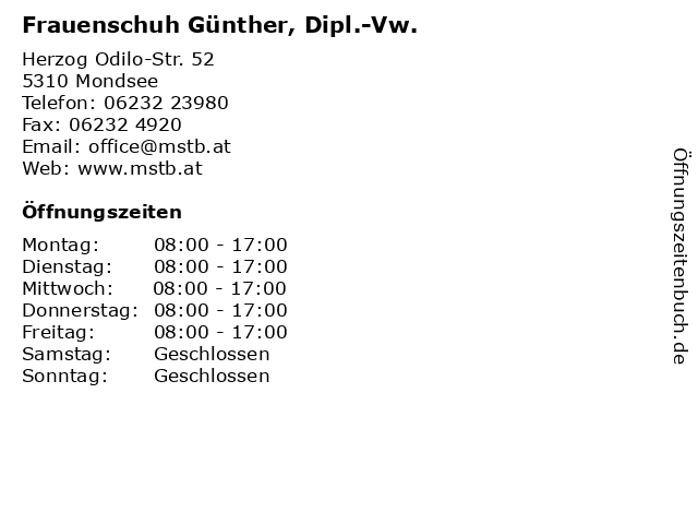 Frauenschuh Günther, Dipl.-Vw. in Mondsee: Adresse und Öffnungszeiten