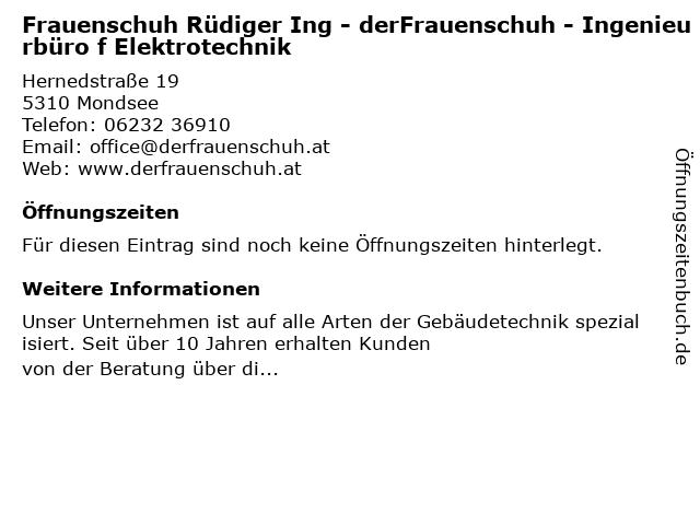 Frauenschuh Rüdiger Ing - derFrauenschuh - Ingenieurbüro f Elektrotechnik in Mondsee: Adresse und Öffnungszeiten