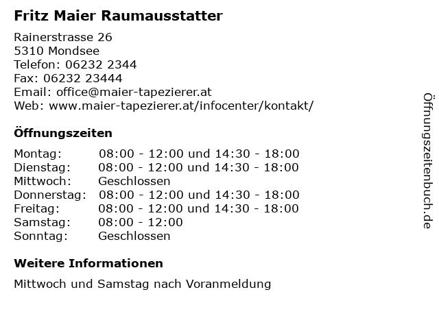 Fritz Maier Raumausstatter in Mondsee: Adresse und Öffnungszeiten