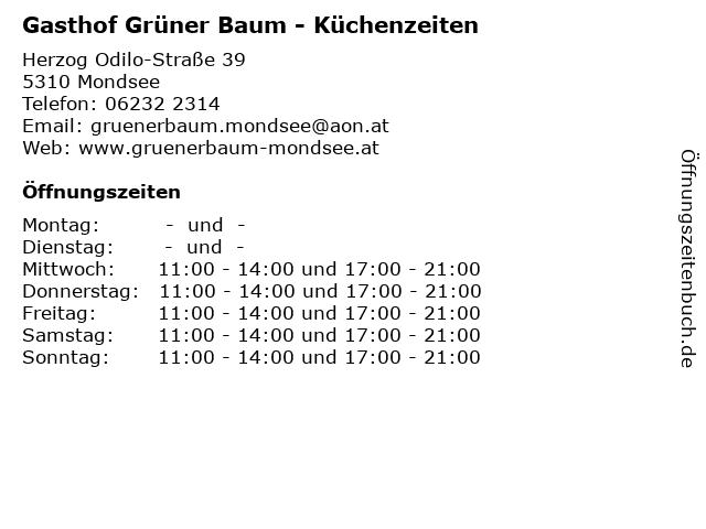Gasthof Grüner Baum - Küchenzeiten in Mondsee: Adresse und Öffnungszeiten