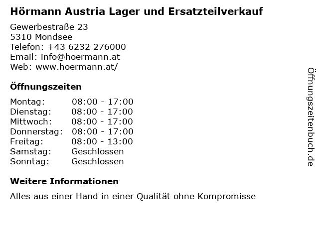Hörmann Austria Lager und Ersatzteilverkauf in Mondsee: Adresse und Öffnungszeiten